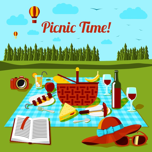 Picnic time poster with different food and drink on the cloth, countryside view. vector Premium Vector
