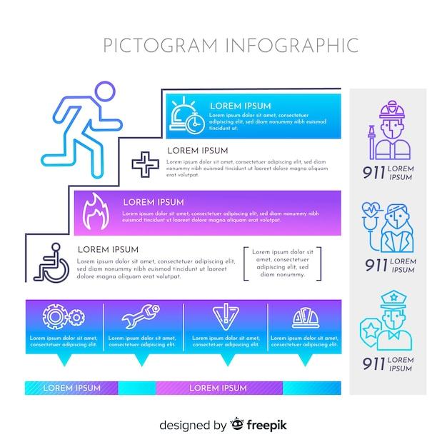 Pictogram infographic elements Free Vector