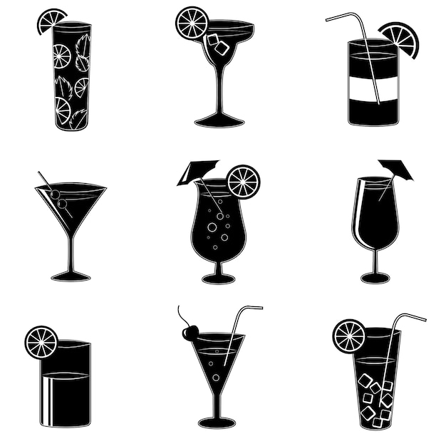 Pictograms of party cocktails with alcohol Free Vector