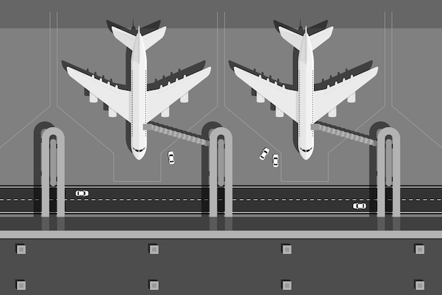 Picture of airport terminal with two planes, top view,  style illustration Premium Vector