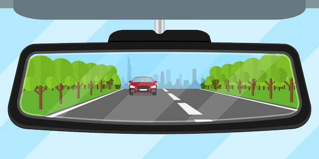 Picture of a car rear view mirror reflected road, another car, trees and big city silhouette,  style