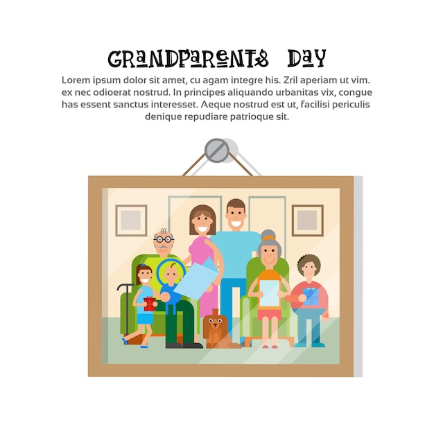 Picture of family together happy grandparents day greeting card banner Premium Vector