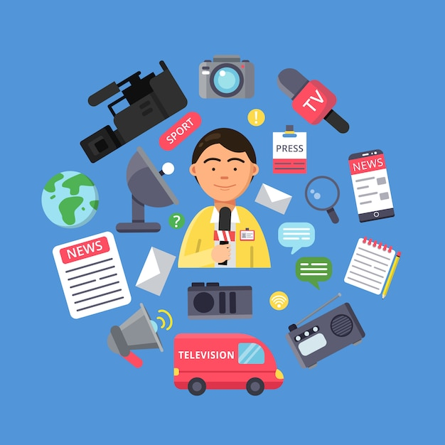 Picture of journalist and various specific equipment Premium Vector