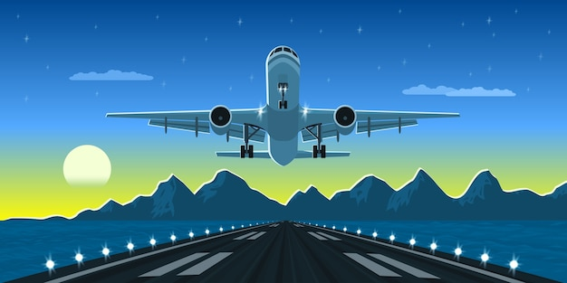 Picture of a landing or taking off plane with mountains and big city silhouette on background,  style illustration Premium Vector
