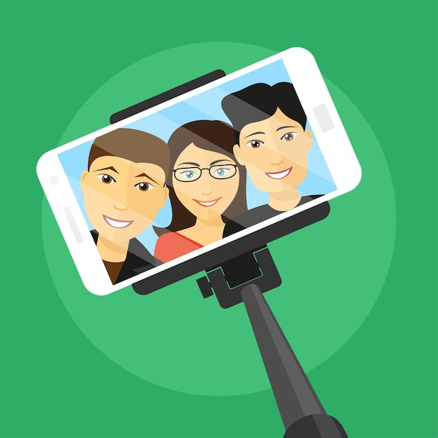 Picture of mobile phone with three friends on screen and selfie stick,  style illustration Premium Vector