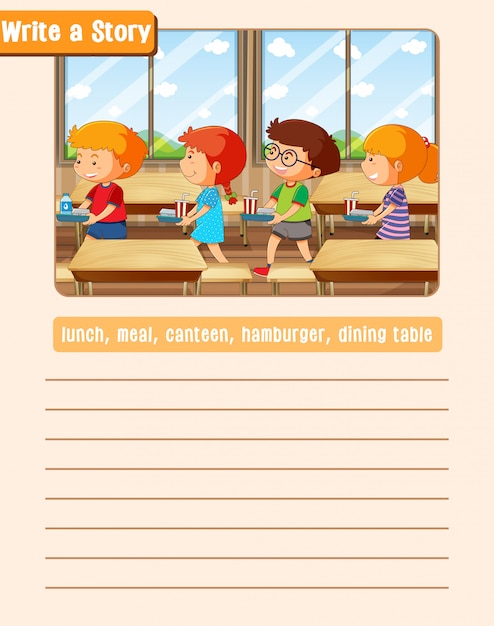 A picture narrative worksheet Free Vector