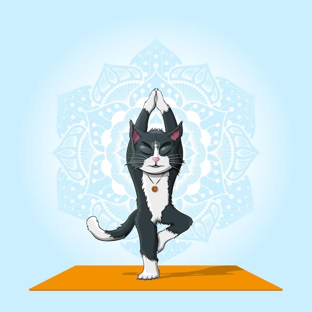 青い背景、ヨガ、瞑想の概念に曼荼羅パターンでvrikshasanaを実行している猫の写真 Premiumベクター