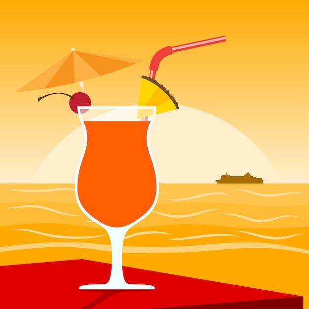 Изображение коктейля, стоящего на столе перед закатом на пляже Premium векторы