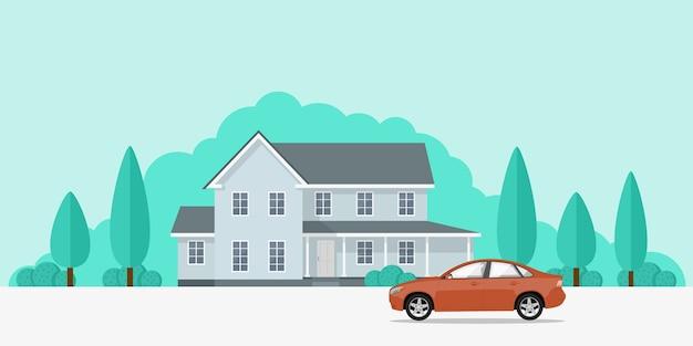전용 주택과 그 앞에 차, 스타일 배너 개념의 그림 프리미엄 벡터