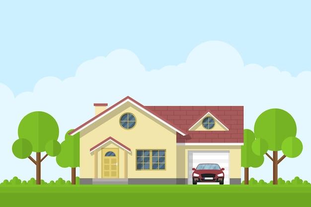 차고와 자동차, 스타일 일러스트와 함께 전용 생활 집의 그림 프리미엄 벡터