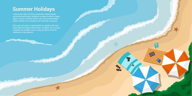 タオル、傘、スレート、休暇、旅行、夏の休日の概念のスタイルバナーと海岸の写真 Premiumベクター
