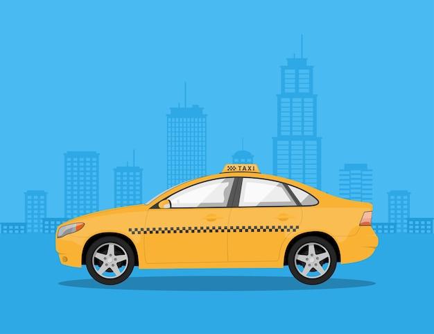 Изображение автомобиля такси с силуэтом большого города на фоне, стиль иллюстрации Premium векторы
