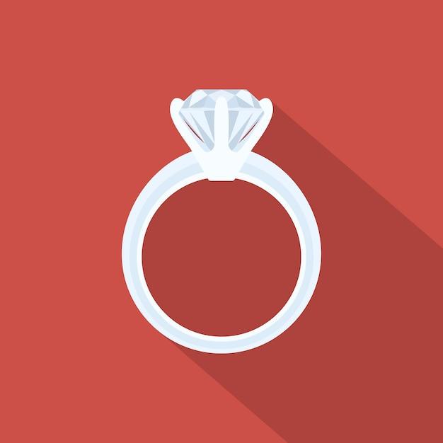 ダイヤモンド、イラスト付きホワイトゴールドリングの画像 Premiumベクター