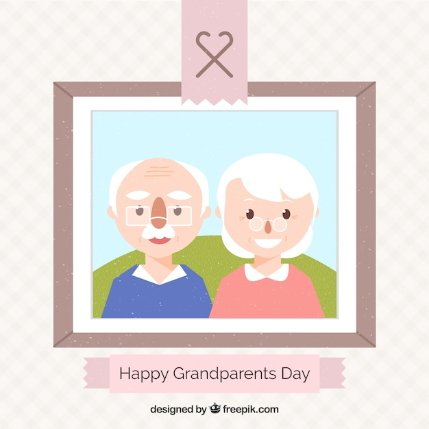 Picture of grandparents in flat design
