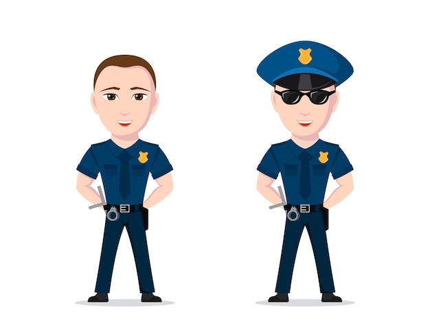 白い背景の上の警察官の画像 Premiumベクター
