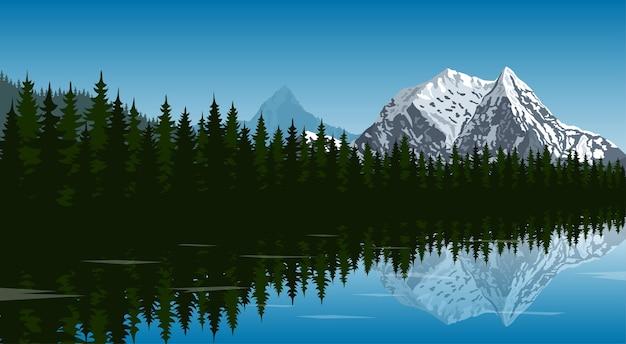 背景の山のピークと反射水、旅行、観光、ハイキング、トレッキングのコンセプト、スタイルの図と森の湖の写真 Premiumベクター