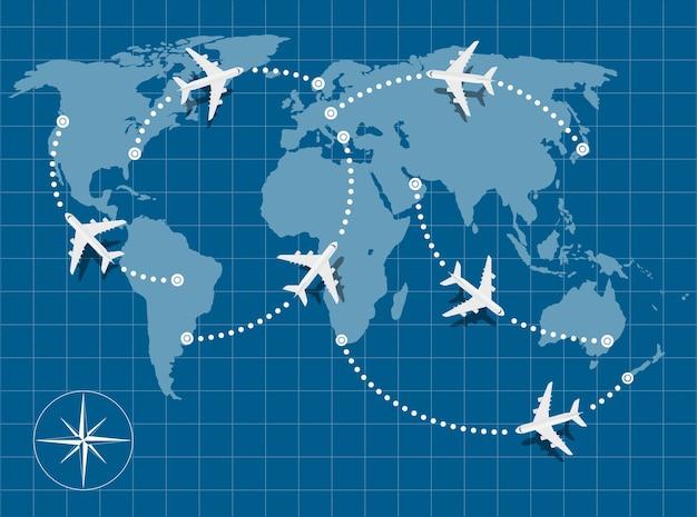 Изображение карты мира с летающими самолетами на нем Premium векторы