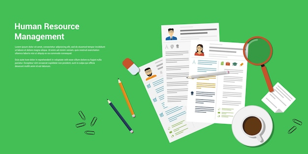 Picture of printed cvs and office accessories pancils, eraser, magnifying glass, cup of coffee etc,  style banner  of human recource management concept Premium Vector