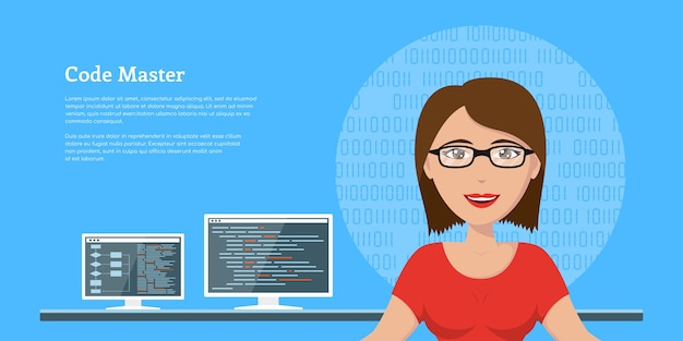Picture of a sm programmer woman, with computer monitors on background,   banner design, coding, programming, application development concept Premium Vector