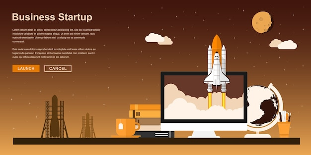 Picture of a space shuttle starting up from pc monitor,  style concept for business startup, new product or service launch Premium Vector