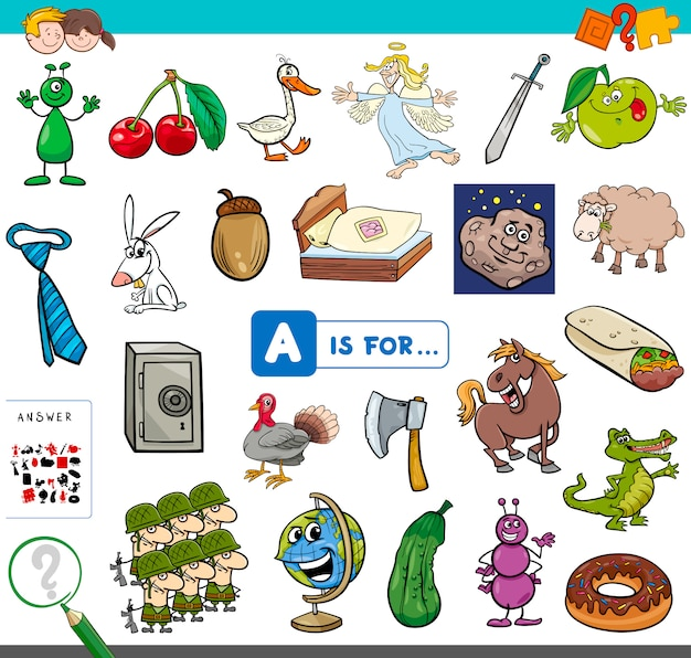 Picture starting with letter a educational game Premium Vector