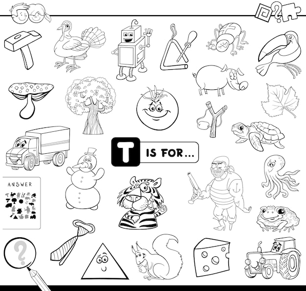 Picture starting with letter t game Premium Vector