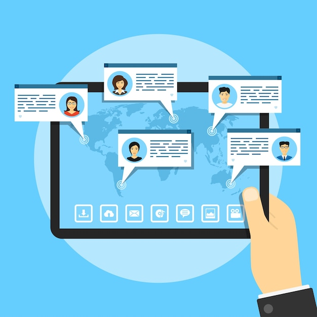 Picture of tablet with world map and people avatars, social network concept,  style illustration Premium Vector