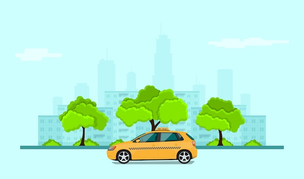 Picture of taxi car in front of city silhouette, taxi service concept banner,  style illustration Premium Vector