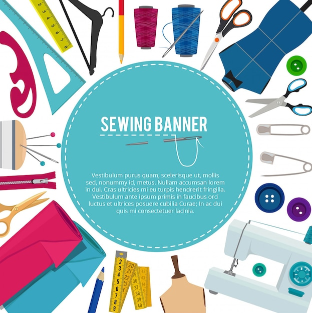 Picture with different sewing elements and place for your text Premium Vector