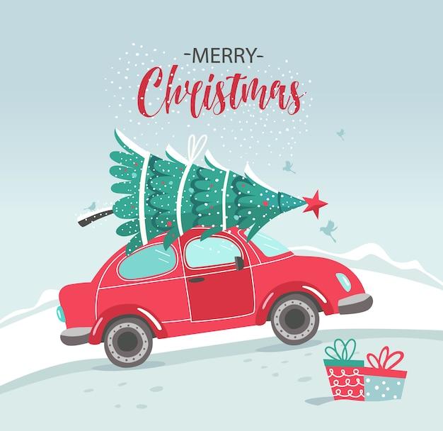 Картинка с красной машиной и елкой. новогодняя картинка. красный пикап. новый год иллюстрации служба доставки. Premium векторы