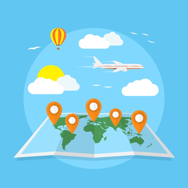 Picture of world map with pointers, clouds, balloon and plane, travel, around the world, vacation concept,  style illustration Premium Vector