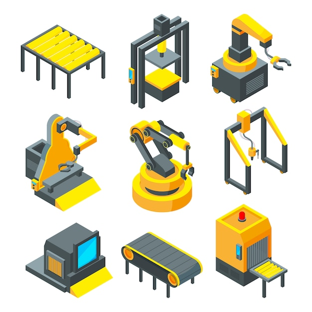 Pictures of industrial tools for factory Premium Vector