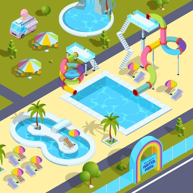 Pictures of outdoor attractions in water park. Premium Vector
