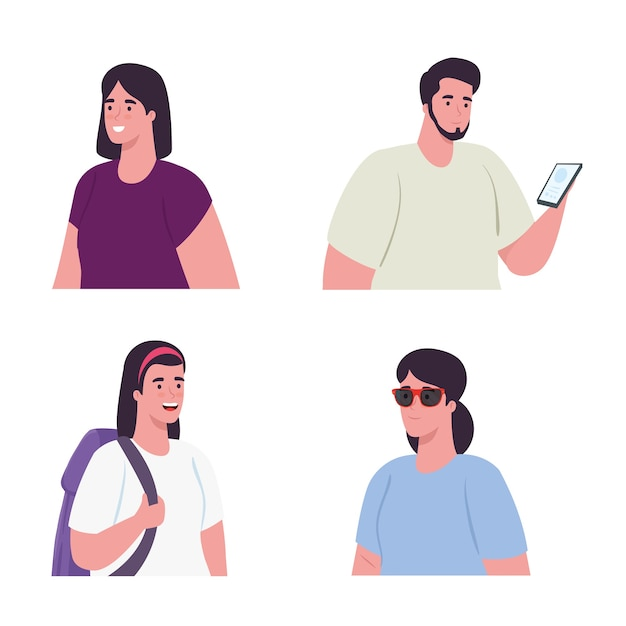 Pictures young people on white background Premium Vector