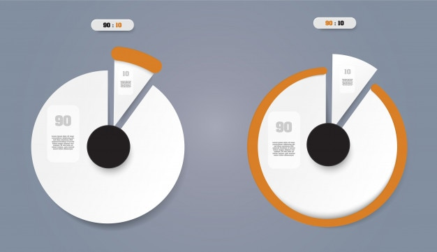 Pie chart  business concept with 2 options. Premium Vector