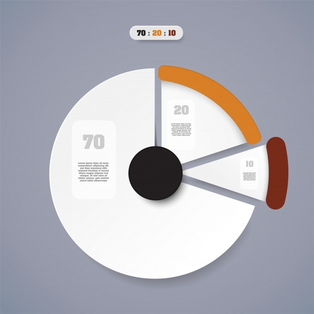 Pie chart  business concept with 3 options. Premium Vector