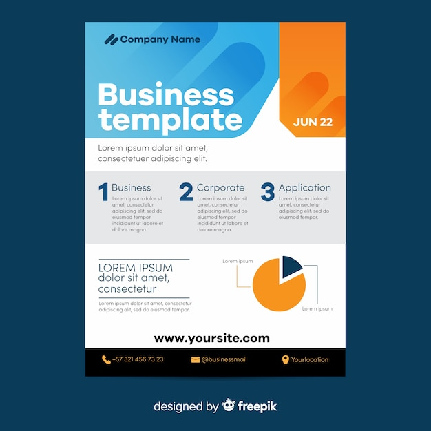 Pie chart geometric business flyer template Free Vector