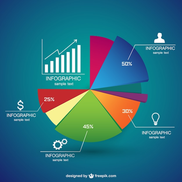 pie chart infographic vector free download