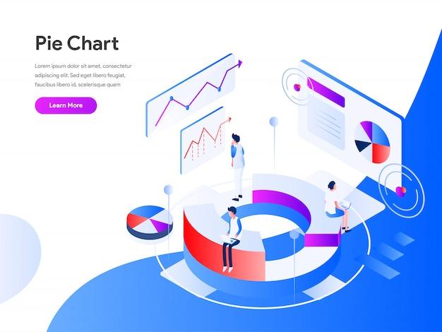 Pie chart isometric web banner Premium Vector