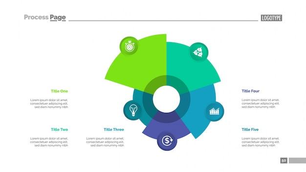 5つの要素のテンプレートを含む円チャート 無料ベクター