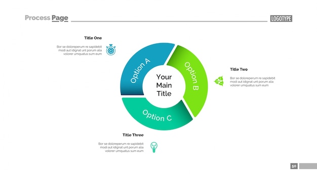 pie chart with three options template vector free download