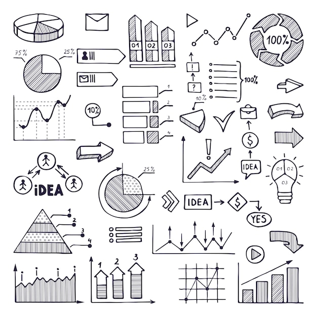 Pie graph, graphics and charts. business illustrations in hand drawn style Premium Vector