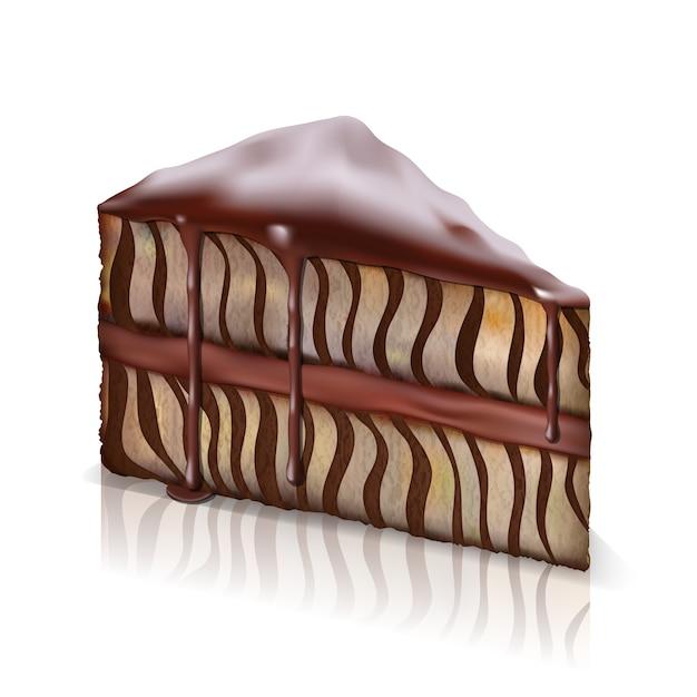 チョコレートが流れ落ちるスポンジケーキ 無料ベクター