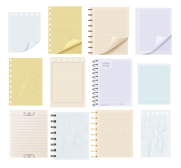 Pieces of colorful blank note paper set Premium Vector