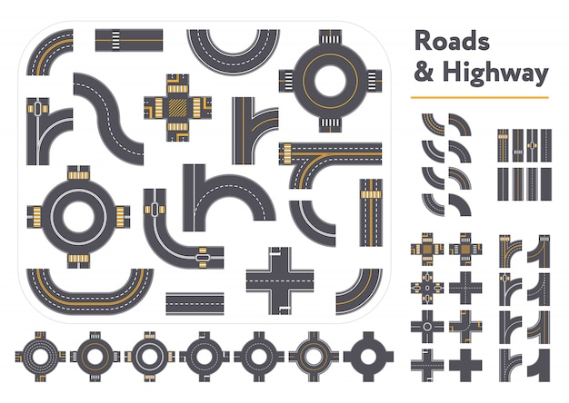 Pieces of graphic roads and highways set Premium Vector