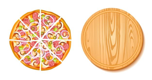 ピザとボードの構成 無料ベクター