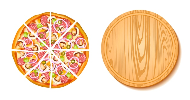 Pieces of pizza and the board composition Free Vector
