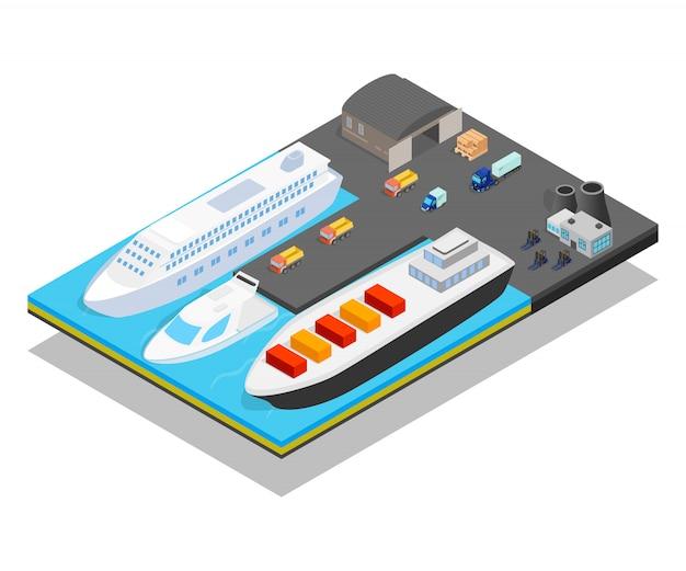 Pier concept scene Premium Vector