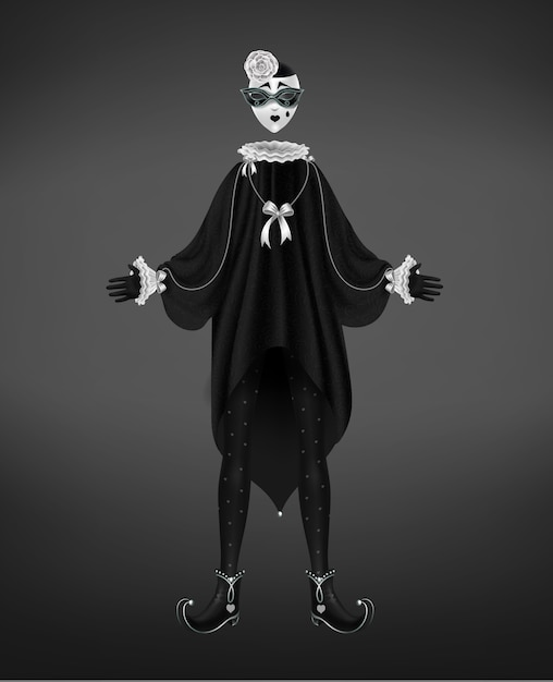 Pierrot costume, italian comedy del arte character isolated on black background. Free Vector
