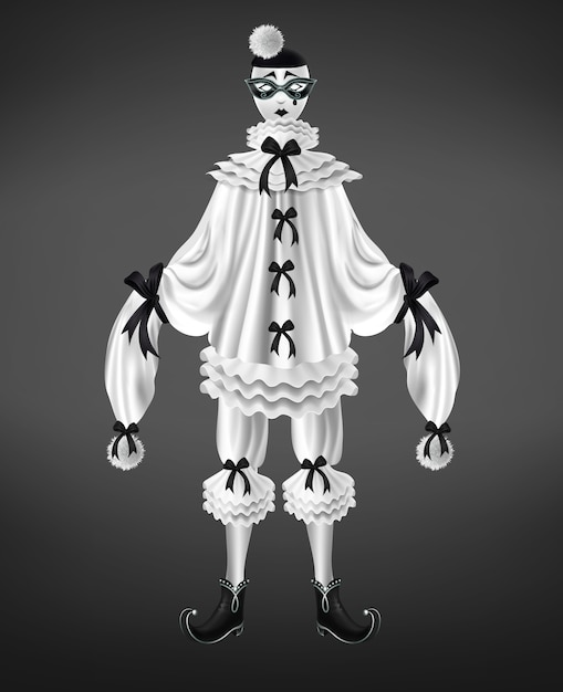 Pierrot white costume with black bows and pompoms on long sleeves Free Vector